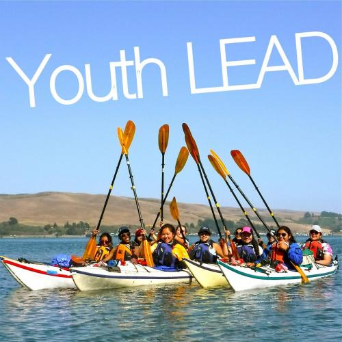 Gier Hernandez paddling the iqyak he helped build as a Youth LEADer