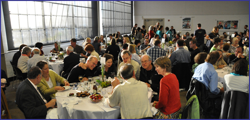 Diners filling the Golden Gate Room at Fort Mason for Make a Ripple Fundraiser