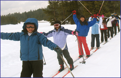 a line of childrin, smiling and raising their arms on cross country skis, surrounded by snow and trees